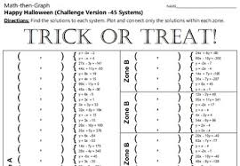 or treat 45 systems u0026 coordinate graphing activity challenge