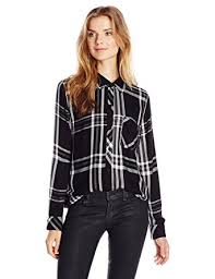 Black And White Plaid Shirt Womens Amazon Com Rails Women U0027s Hunter Long Sleeve Button Down Plaid