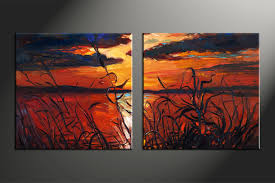 2 piece ocean sunset oil paintings red canvas photography