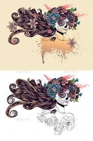 sugar skull with hair in flower crown by annartshock