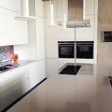 kitchen white matt laminate units with grey u0027silestone u0027 top by