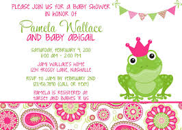 frog pink u0026 green paisley baby shower invitation