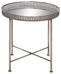 metal tray table round deep set top mirror home furniture accent