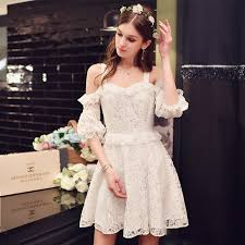 dress 2017 modern fashion ladies lace code shoulder lantern sleeve
