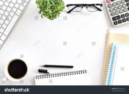 white minimal office desk table computer stock photo 592367552