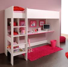 Bunk Bed With Study Table White Wooden Bunk Bed With Pink White Study Table And Shelves