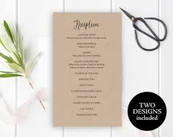 wedding reception program reception program template reception program card reception