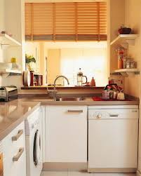 bamboo window shade and classic white cabinet for mini kitchen