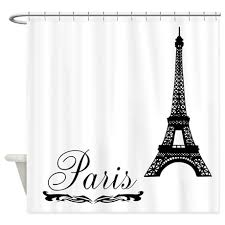 Shower Curtains With Writing Eiffel Tower With Ornate Scri Shower Curtain
