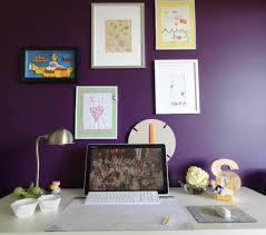covey interiors office purple accent wall office i art music