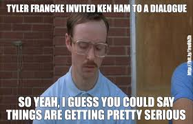 Ham Meme - a meme about kip dynamite and ken ham god of evolution
