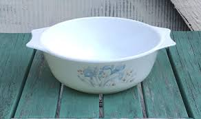 oven to table platter england pyrex casserole dish platter pattern blue iris vintage