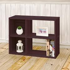 Espresso Bookcase With Doors Espresso 2 Shelf Cubby Bookshelf And Storage Bookcase Way Basics