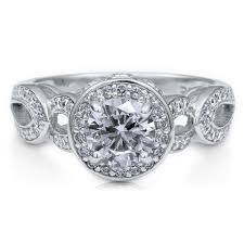 sterling silver round cubic zirconia cz halo art deco engagement