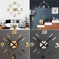 modern 3d wall clock mirror design surface sticker home office
