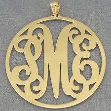 monogram pendants 10k 14k solid gold circle monogram pendant 1 1 2 inch diameter