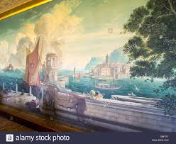 the whistler mural painted on the dining room wall by artist rex stock photo the whistler mural painted on the dining room wall by artist rex whistler at plas newydd anglesey wales uk