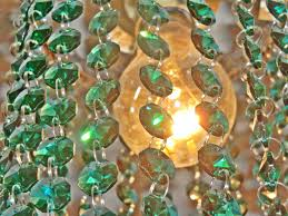 14mm octagon peacock green chandelier drops glass crystals