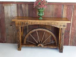 Wagon Wheel Coffee Table by Wagon Wheel Sofa Table U2013 Redeemed Reclaimed Lumber