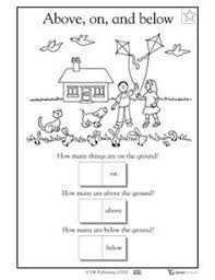 11 best images of up and down kindergarten worksheets above and