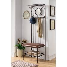 Metal Hall Tree Bench Copper Metal Entryway Hallway Storage Bench Hall Tree Coat Rack