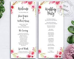 reception program template reception program etsy