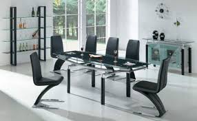 Black Glass Extending Dining Table 6 Chairs Extendable Glass Dining Table Set Apse Co