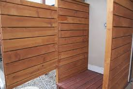 Outdoor Shower Cubicle - hand crafted exterior cedar redwood shower enclosure by dagan