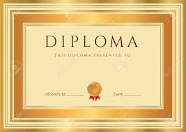 horizontal diploma certificate template with guilloche pattern horizontal diploma certificate template with guilloche pattern watermarks bronze and gold border this background