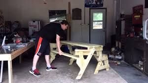 folding picnic table bench combo youtube