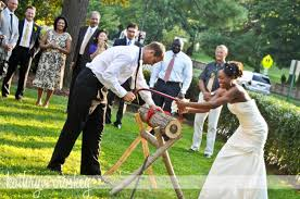 german wedding tradition sawing a log