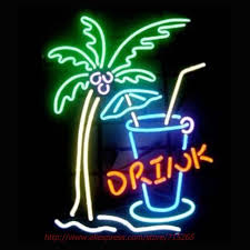 palm tree neon light drink palm tree neon sign neon bulbs led sign real glass tube l