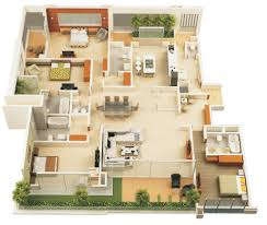 Four  Bedroom ApartmentHouse Plans Bedroom Apartment - Interior design of house plans