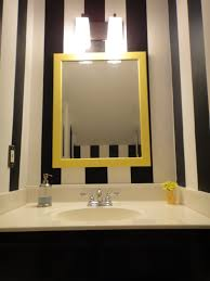 Black And Yellow Bathroom Ideas Black And White Wall Paint Mirror With Yellow Wooden Frame Wall