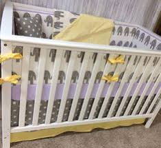 round crib bedding set yellow and gray elephant by