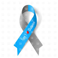 diabetes ribbon grey and blue ribbon diabetes type 1 symbol royalty free vector