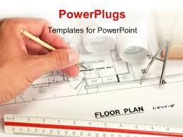 powerpoint template architect drawing the floor plan of a
