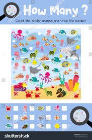 counting game ocean animals preschool kids stock vector 637981366