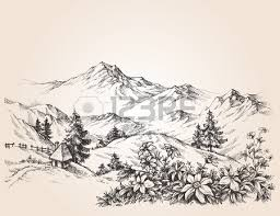 pine forest winter mountain landscape drawing royalty free