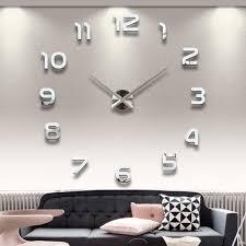 designer wall wholesale home decoration big number mirror wall clock modern design