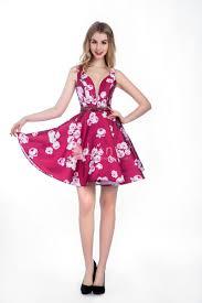 fuchsia floral print sleeveless a line short cocktail dress 2017