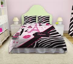 bedroom girls zebra bedding cork wall decor desk lamps elegant