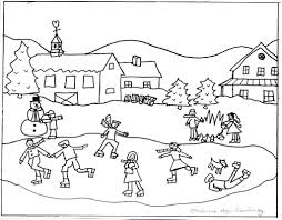 winter scene color number coloring page pic bebo pandco