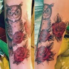 asami zdrenka flower owl rose upper arm tattoo steal her style