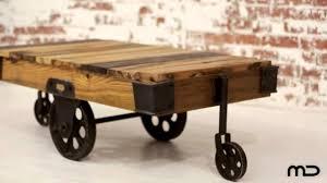 industrial coffee table cart hardwood u0026 iron milan direct