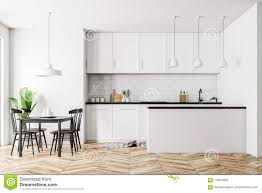 are black and white kitchens in style white kitchen interior black table stock illustration