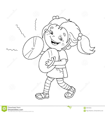 coloring page outline of cartoon playing the cymbals stock