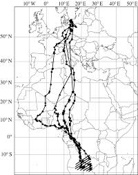 Route 40 Map by Converging Migration Routes Of Eurasian Hobbies Falco Subbuteo