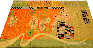 Miro 5ft X 7ft Wool by Klimt Green Orangemodern Abstract Rug Wall Art Hand Embroidered