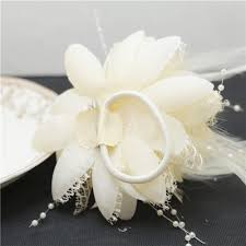 silk corsages 5pcs beige color wedding or prom wrist corsage with bracelet silk